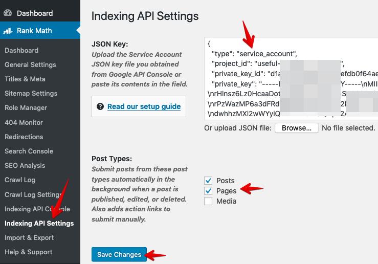 Google Indexing API Settings in Rank Math