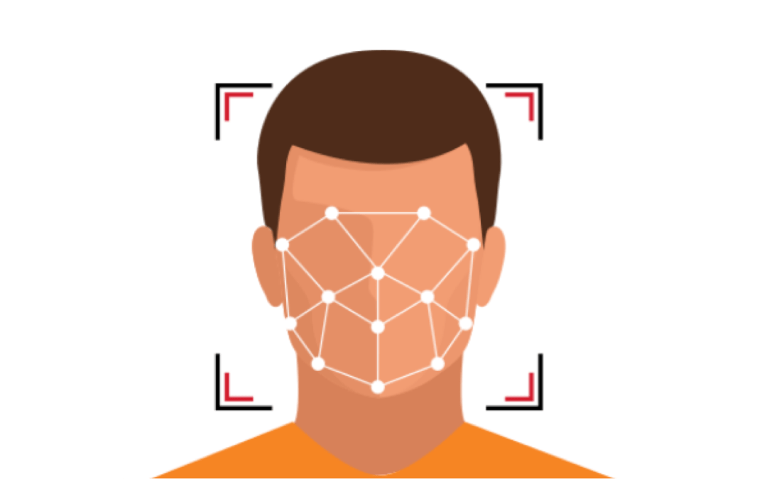 An animated face with bounding box and landmarks
