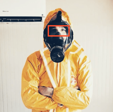 Image showing face detection for a subject wearing a gas mask