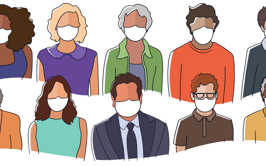Animated graphic of people wearing masks