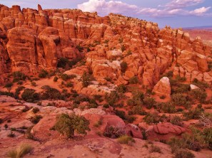 Fiery Furnace at Sunset. My favortite spot! I swear I did not crank up the saturation, it really was that red.