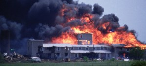 The flaming, smoking ruin of the Branch Davidian Compound in Waco, Texas
