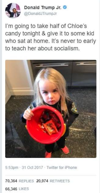 "@DonaldJTrumpJr tweets ""I'm going to take half of Chloe's candy tonight & give it to some kid who sat at home. It's never to early to teach her about socialism"""