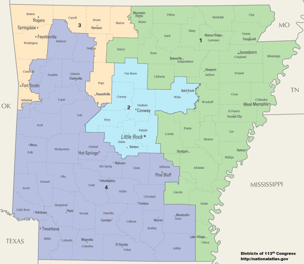 National Atlas Arkansas Congressional Districts, Department of the Interior