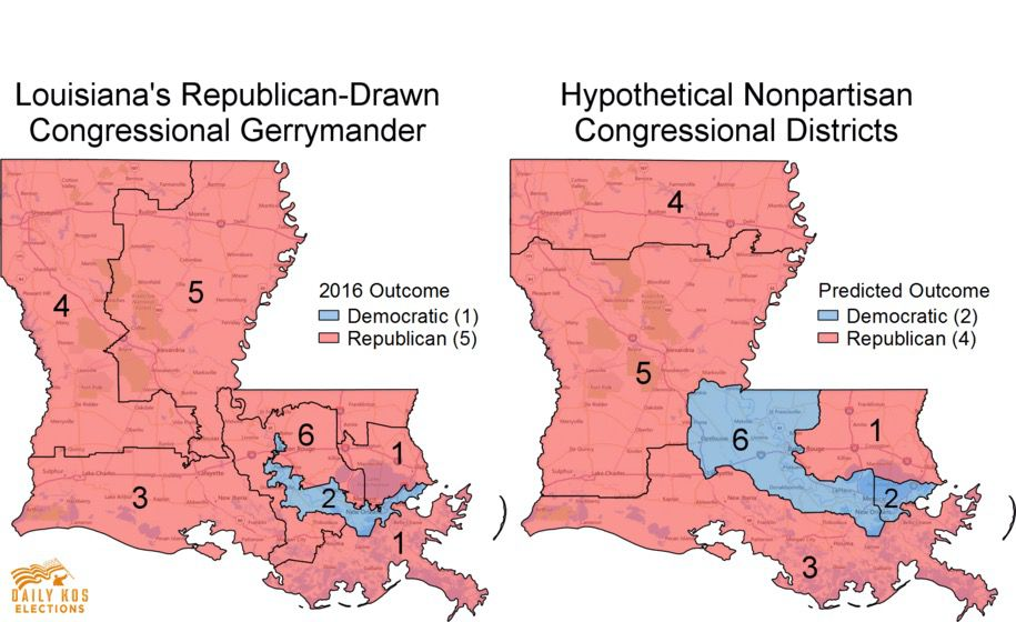 "Daily Kos Louisiana Congressional Maps <a href=""http://www.dailykos.com/story/2016/12/27/1613370/-Here-s-what-Louisiana-might-have-looked-like-in-2016-without-congressional-gerrymandering"">Daily Kos Louisiana Congressional Maps</a>"