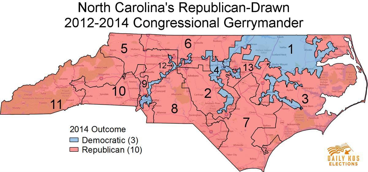 "Daily Kos, North Carolina District Map"" Daily Kos, <a href=""http://www.dailykos.com/story/2016/10/27/1579905/-These-three-maps-show-just-how-effectively-gerrymandering-can-swing-election-outcomes"">North Carolina District Map</a>"