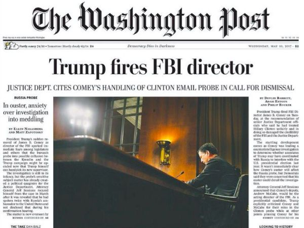 The Day After Comey Was Fired, Front Pages Across The US Echoed Our National Divide