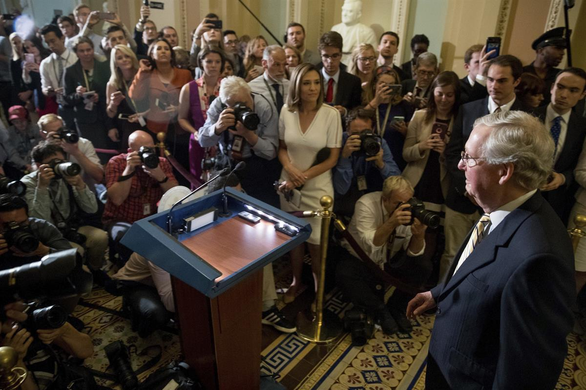 <strong>Senate Majority Leader Mitch McConnell (R-KY)</strong> arrives for a news conference on Capitol Hill in Washington, Tuesday, July 25, 2017, after the Senate voted to pass health care legislation. (AP/Andrew Harnik)