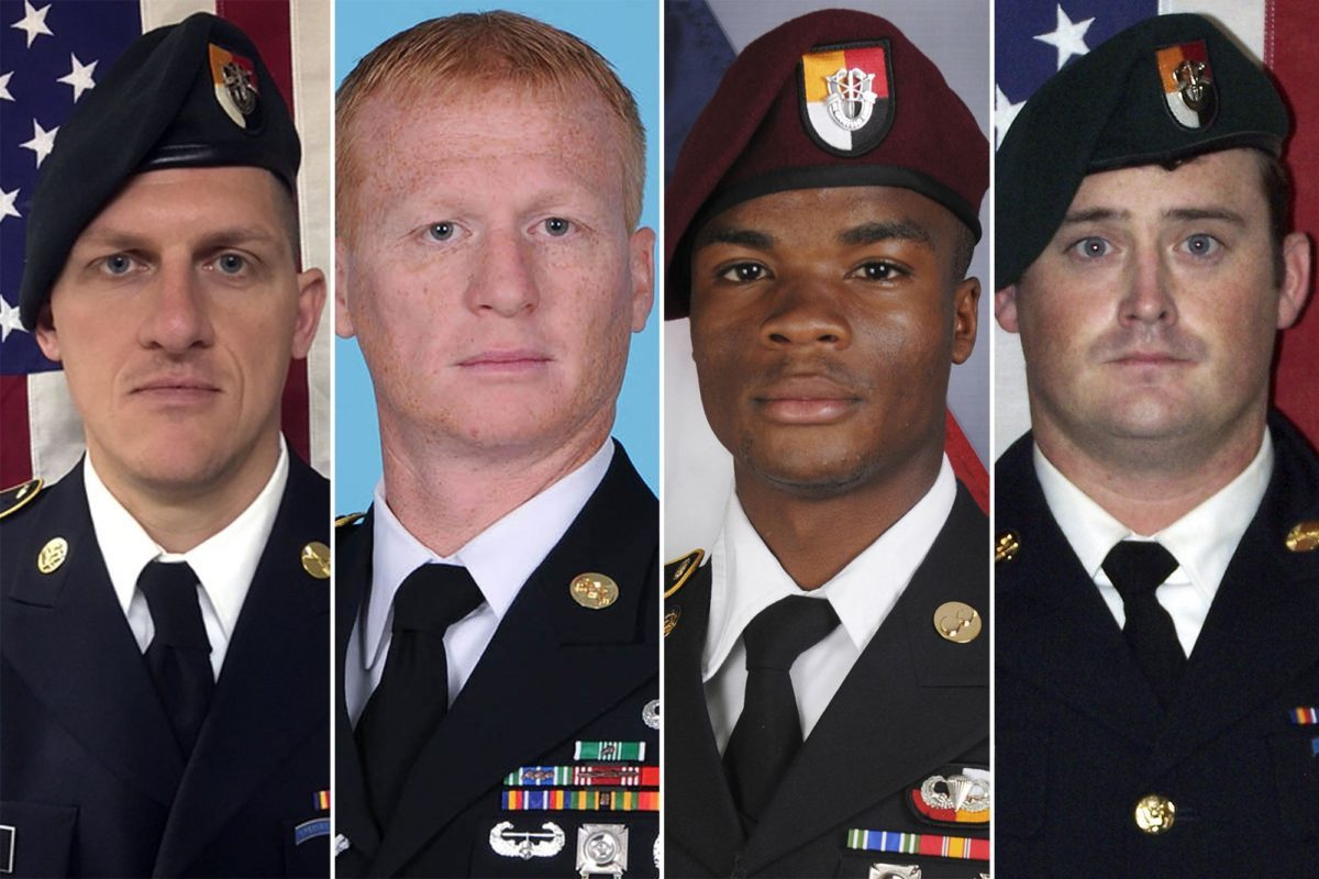 From left: Staff Sgt. Bryan C. Black; Staff Sgt. Jeremiah W. Johnson; Sgt. La David T. Johnson; and Staff Sgt. Dustin M. Wright. (AP)