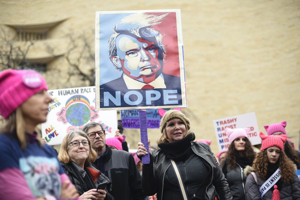 Participants attend the Women's March on Washington on Independence Ave. on Saturday, Jan. 21, 2017. (AP Photo/Sait Serkan Gurbuz)