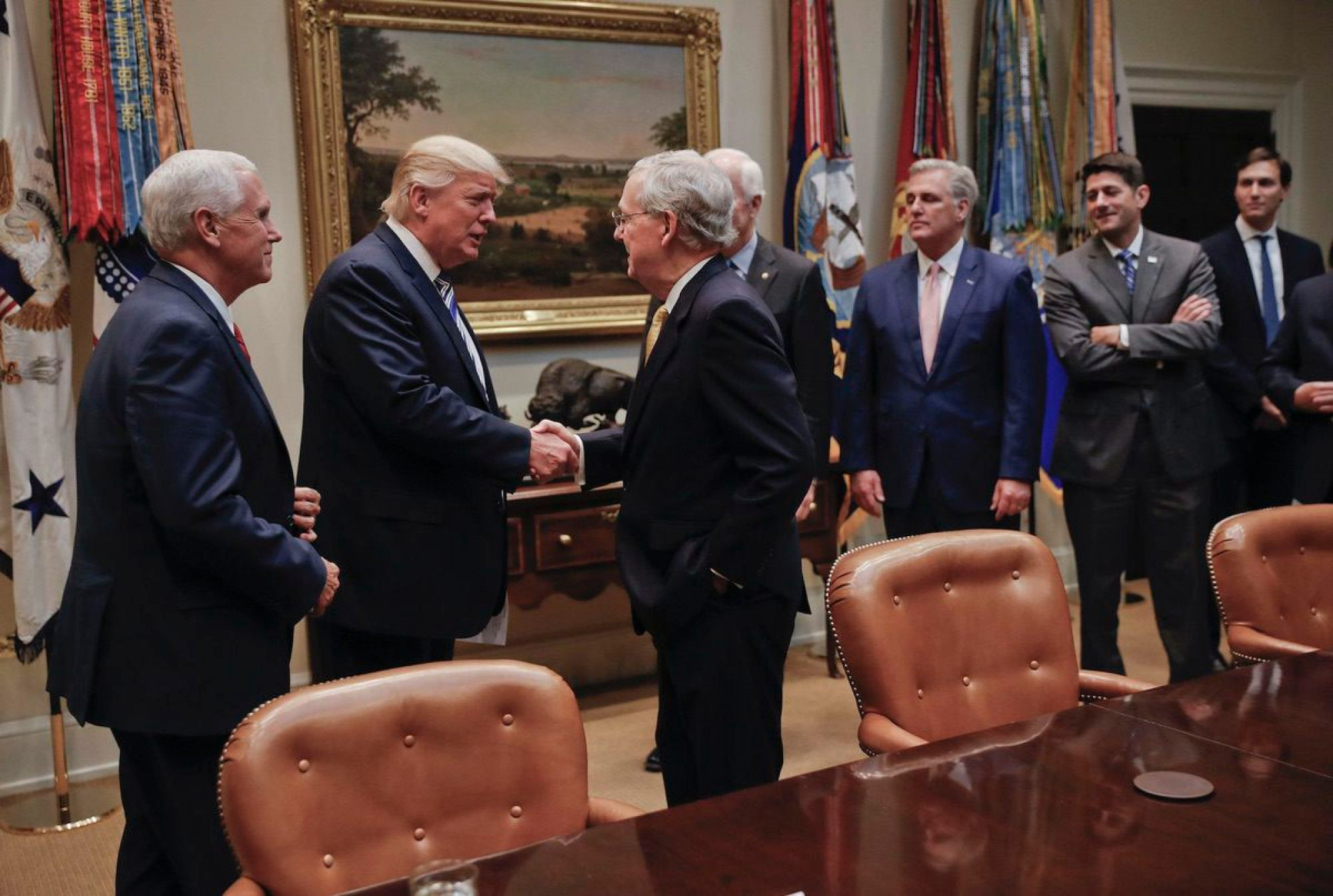 President Donald Trump shakes hands awith Senate Majority Leader Mitch McConnell of Ky., center, before the start of a meeting with House and Senate Leadership in the Roosevelt Room of the White House in Washington, Tuesday, June 6, 2017. Also in the room are from left, Vice President Mike Pence, Senate Majority Whip John Cornyn, R-Texas, House Majority Leader Kevin McCarthy of Calif., House Speaker Paul Ryan of Wis., and Senior adviser to President Donald Trump Jared Kushner. (AP Photo/Pablo Martinez Monsivais)