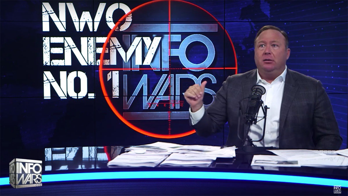 Alex Jones mid-stride on an InfoWars broadcast (YouTube Screenshot)