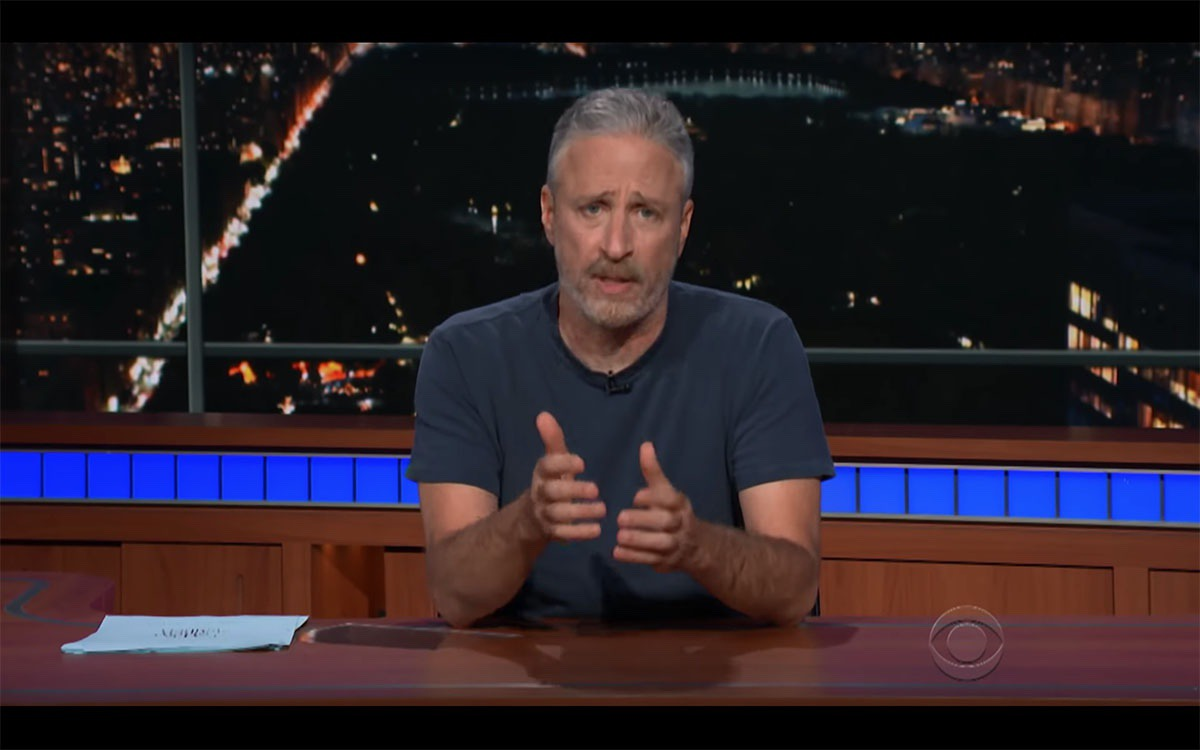 Screenshot of Jon Stewart on The Late Show