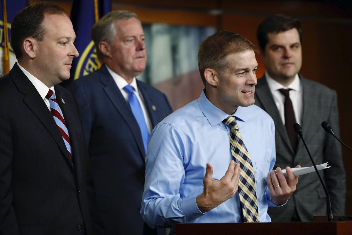Rep. Jim Jordan, R-Ohio, speaks next to Rep. Lee Zeldin, R-N.Y., left, Rep. Mark Meadows, R-North Carolina, and Rep. Matt Gaetz, R-Fla., during a news conference with members of the Freedom Caucus where they called for a second prosecutor to investigate the Dept. of Justice and FBI, Tuesday, May 22, 2018, on Capitol Hill in Washington. (AP Photo/Jacquelyn Martin)