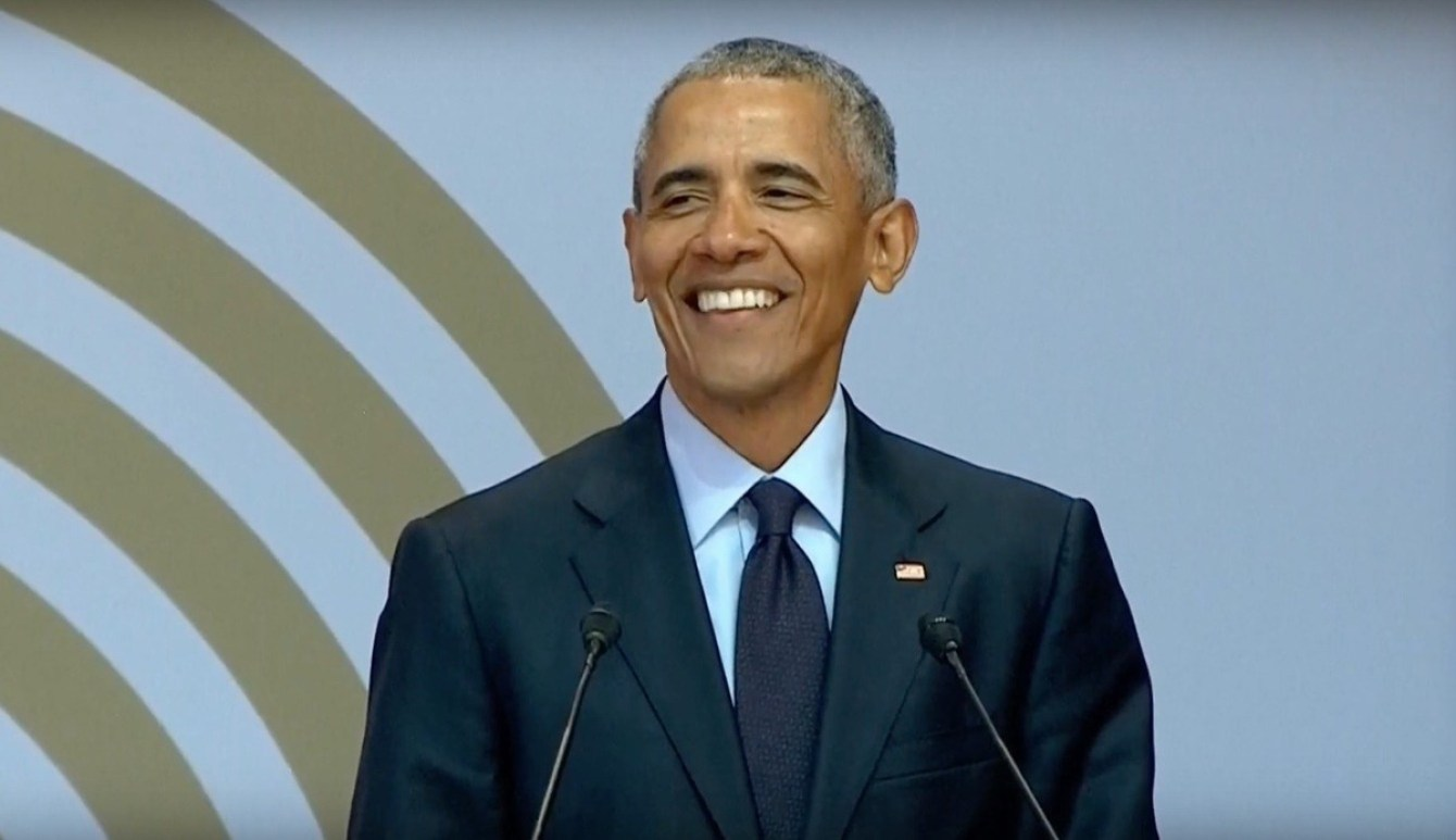Barack Obama speaking in South Africa. Tuesday, July 17, 2018.