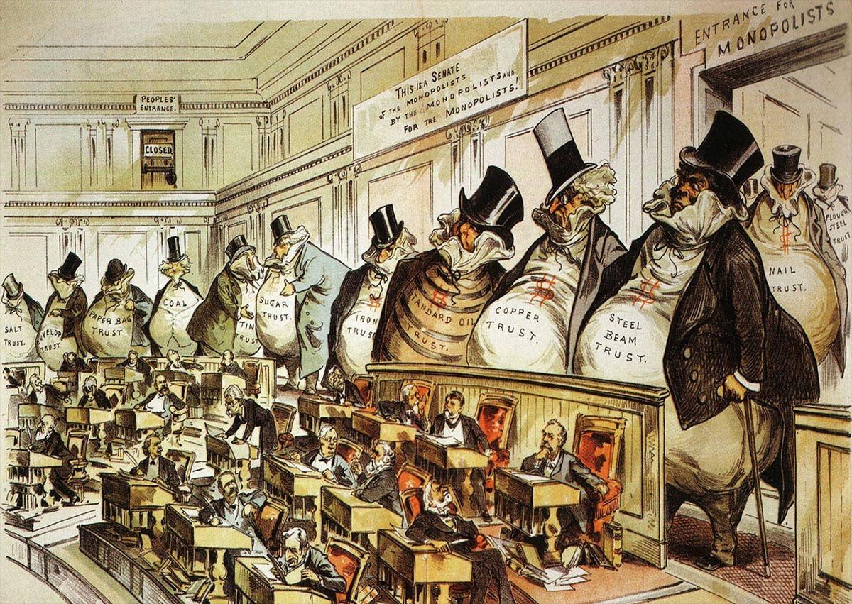 Dickensian robber baron political cartoon