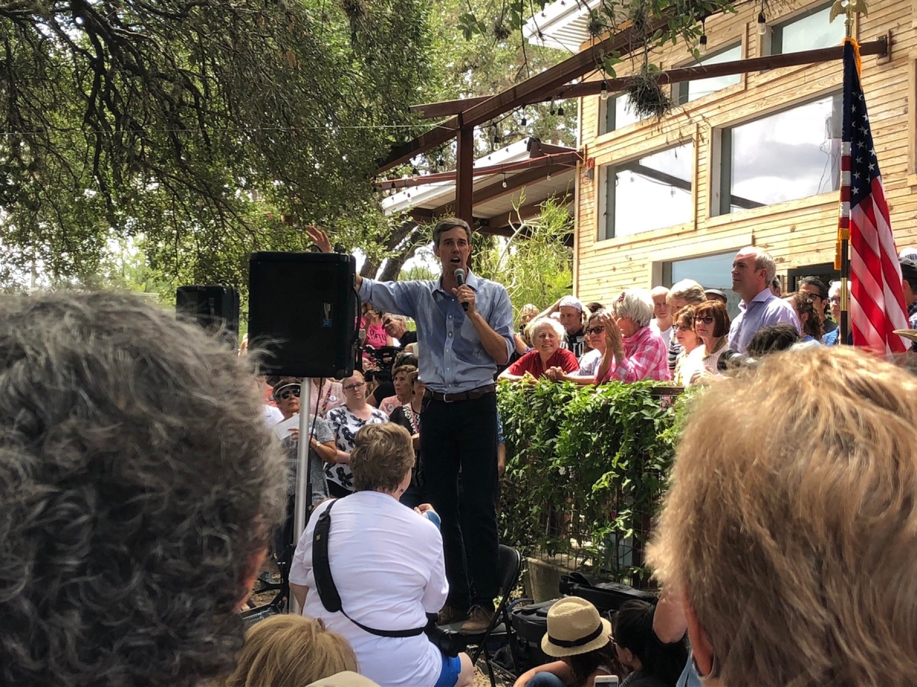U.S. Senate Candidate Beto O'rourke campaigning in Johnson City, Texas in 93-degree weather (Matthew Reyna/Rantt Media)