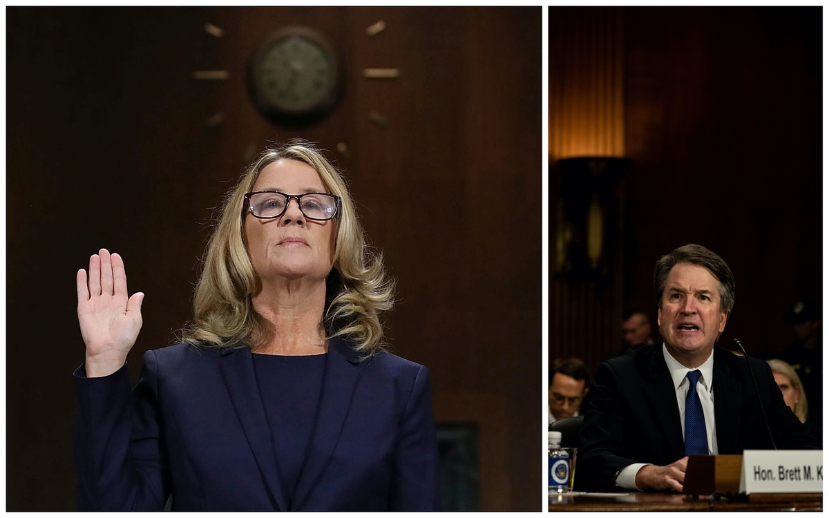 Dr. Christine Blasey Ford and Brett Kavanaugh testifying before the Senate Judiciary Committee, Thursday, Sept. 27, 2018 in Washington. (AP/Reuters)