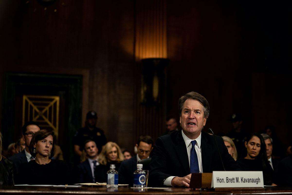 Brett Kavanaugh testifies about sexual assault allegations on Capitol Hill, September 27, 2018 (Erin Schaff/Pool via REUTERS)