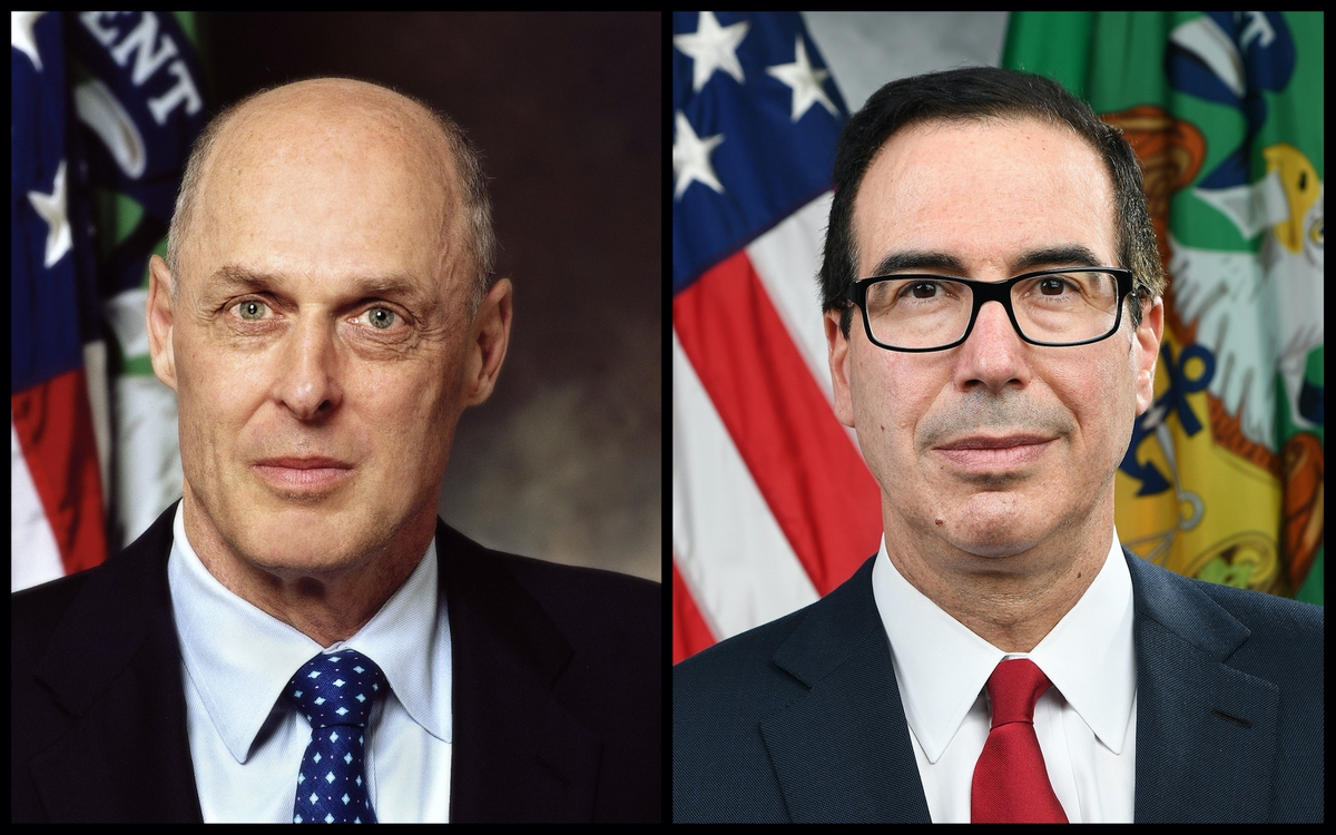 Former Treasury Secretary Henry Paulson Jr. (2006–2009) and current Treasury Secretary Steve Mnuchin. Both are former Goldman Sachs.