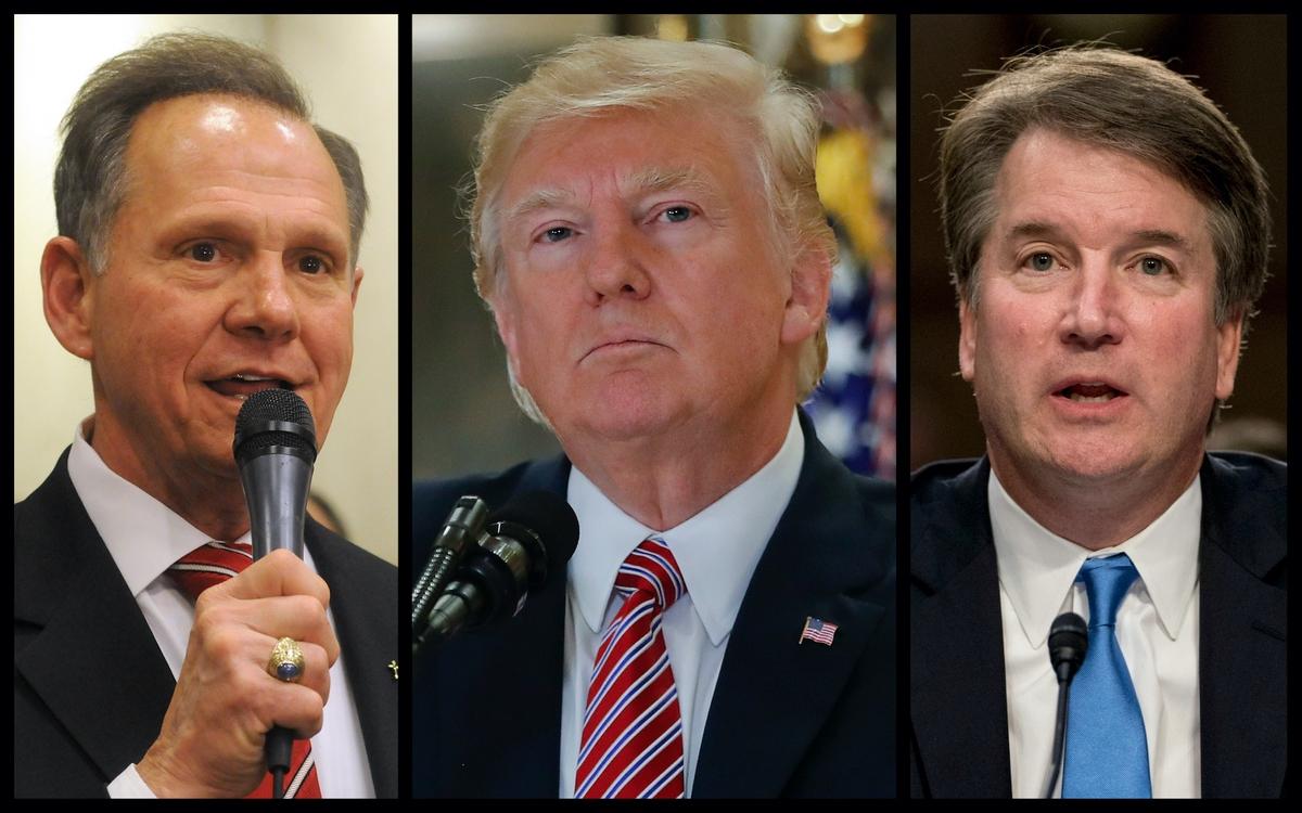 Roy Moore, Donald Trump, and Brett Kavanaugh (Rantt Media/AP)