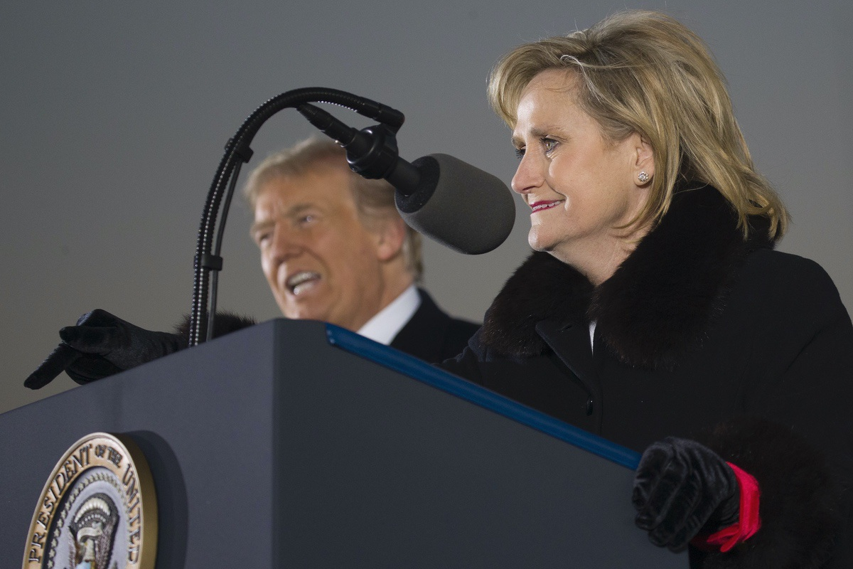 Sen. Cindy Hyde-Smith, R-Miss., speaks at a rally with President Donald Trump at Tupelo Regional Airport, Monday, Nov. 26, 2018, in Tupelo, Miss. (AP Photo/Alex Brandon)