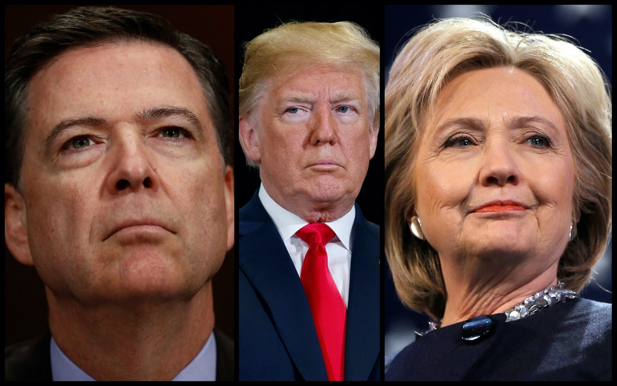 James Comey, Donald Trump, and Hillary Clinton (AP)
