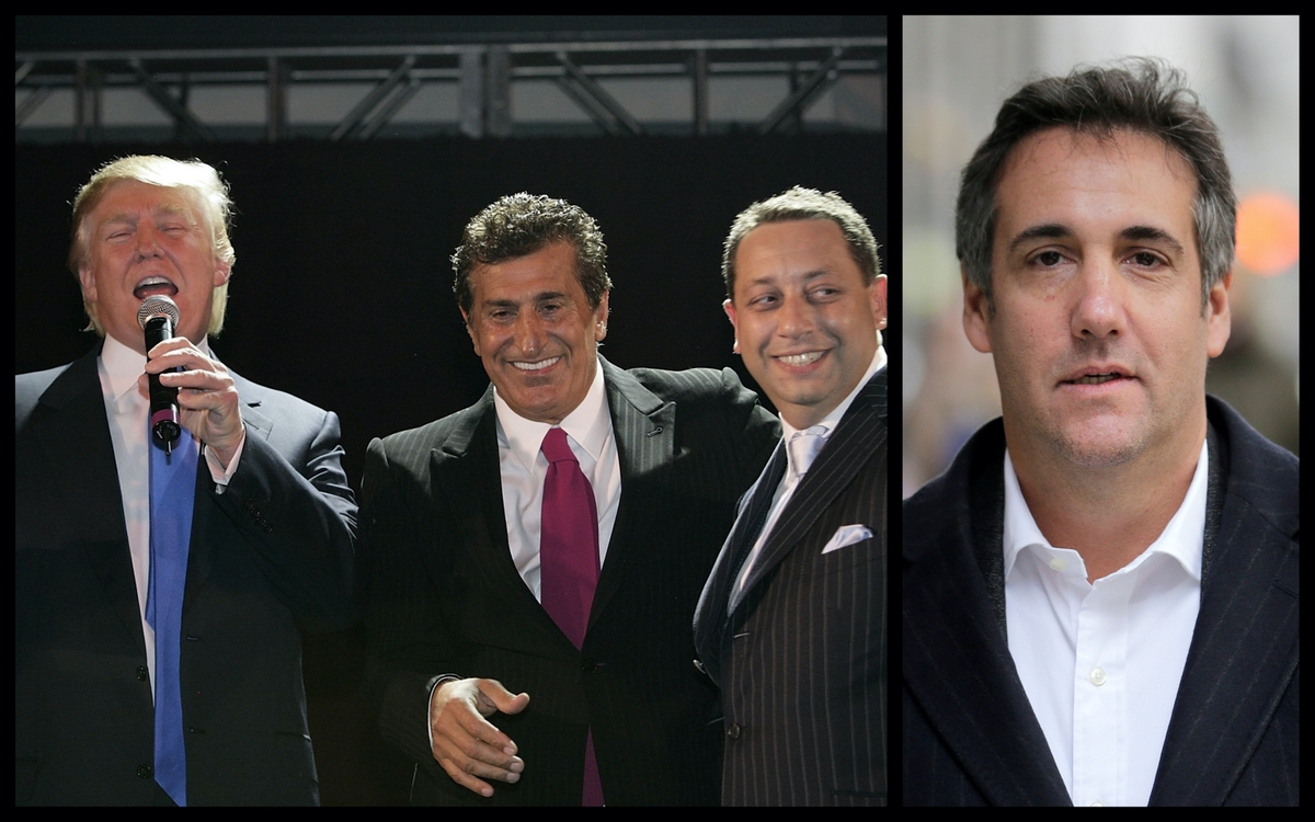 Donald Trump, Tevfik Arif, Felix Sater attend the Trump Soho Launch Party in New York on September 19, 2007 (Mark Von Holden/WireImage). Michael Cohen Crop (AP).