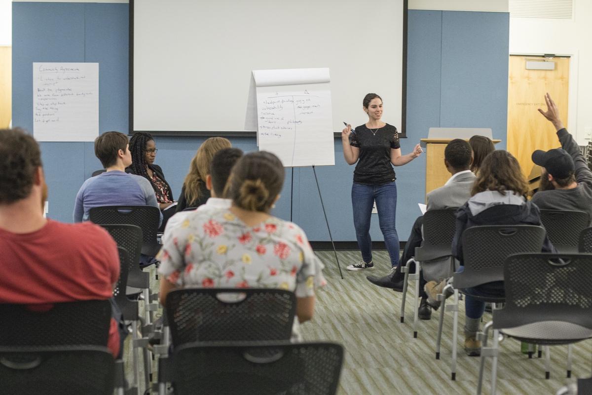 Elyssa Feder, Director of Rising Organizers, leads a public training.