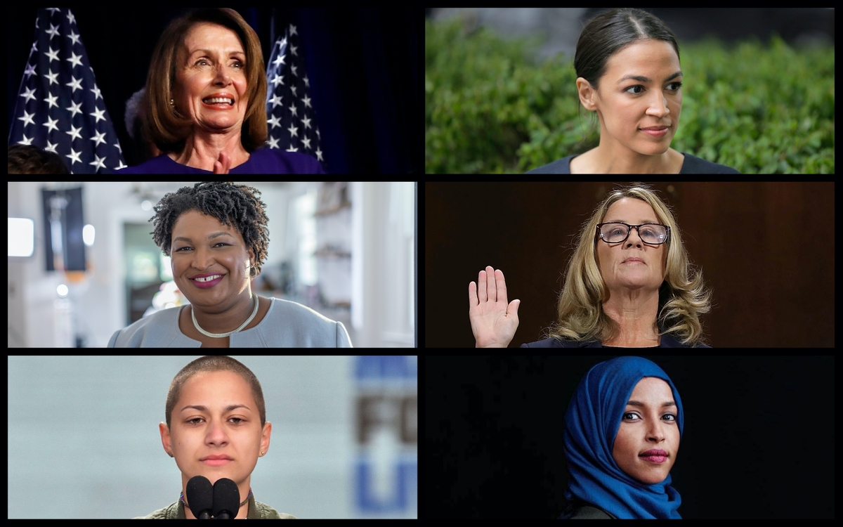 From top left: Nancy Pelosi, Alexandria Ocasio-Cortez, Stacey Abrams, Emma Gonzalez, and Ilhan Omar. (AP and campaign photos)