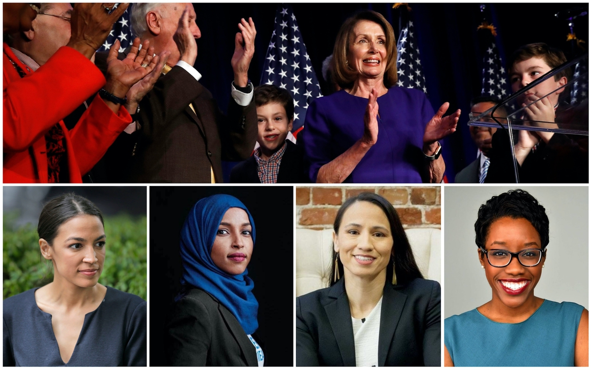 Nancy Pelosi, Alexandria Ocasio-Cortez, lhan Omar, Sharice Davids, and Lauren Underwood.