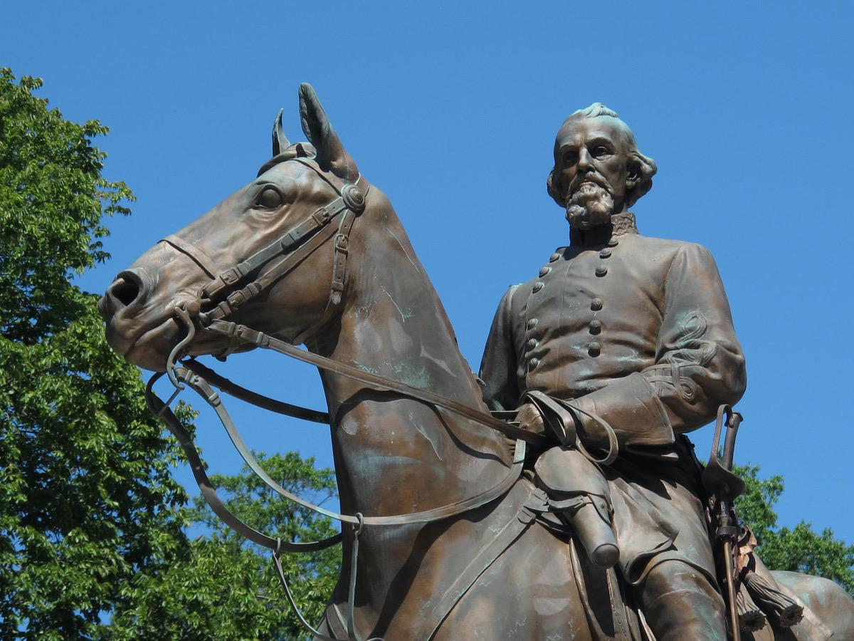 A statue of Confederate Gen. Nathan Bedford Forrest sits in a park in Memphis, Tenn. Aug. 18, 2017, file photo, (AP Photo/Adrian Sainz, File)