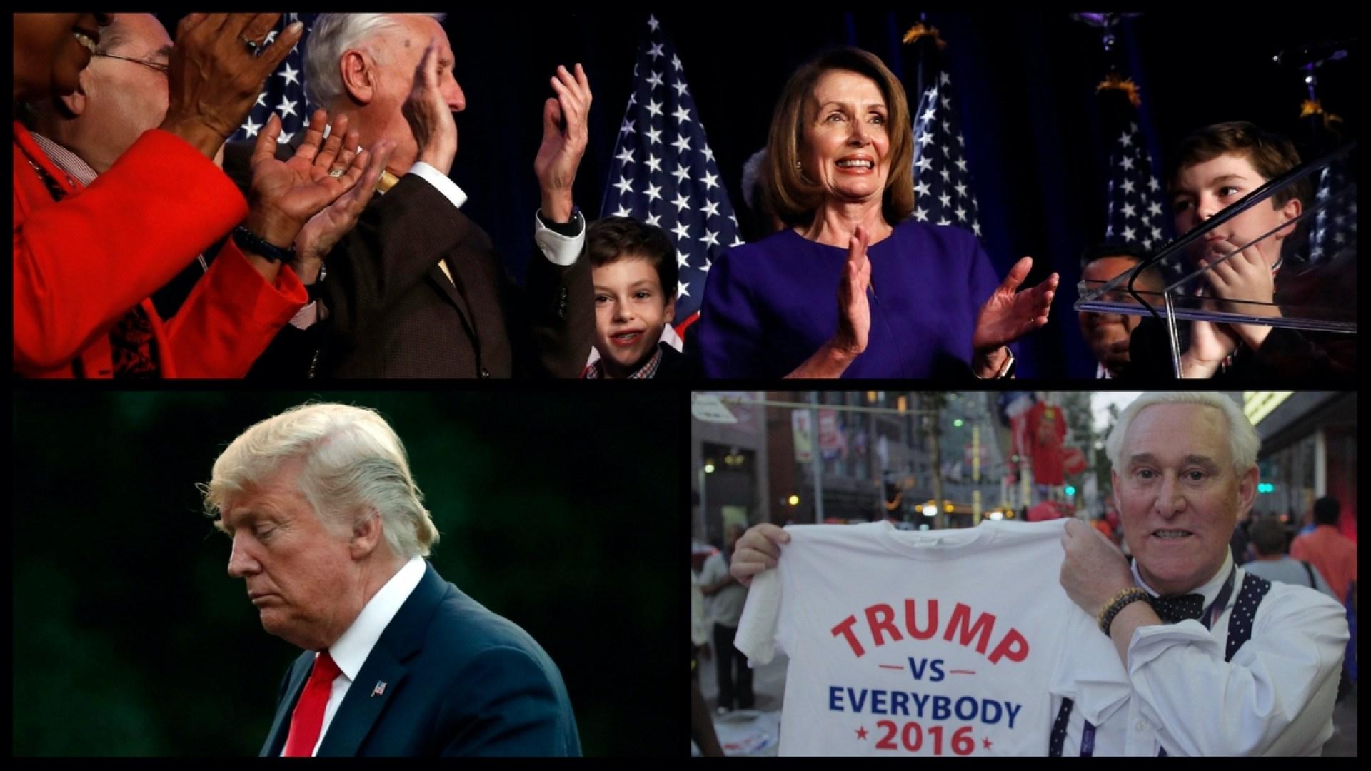 Speaker of the House Nancy Pelosi, President Donald Trump, and Roger Stone (AP & Netflix)
