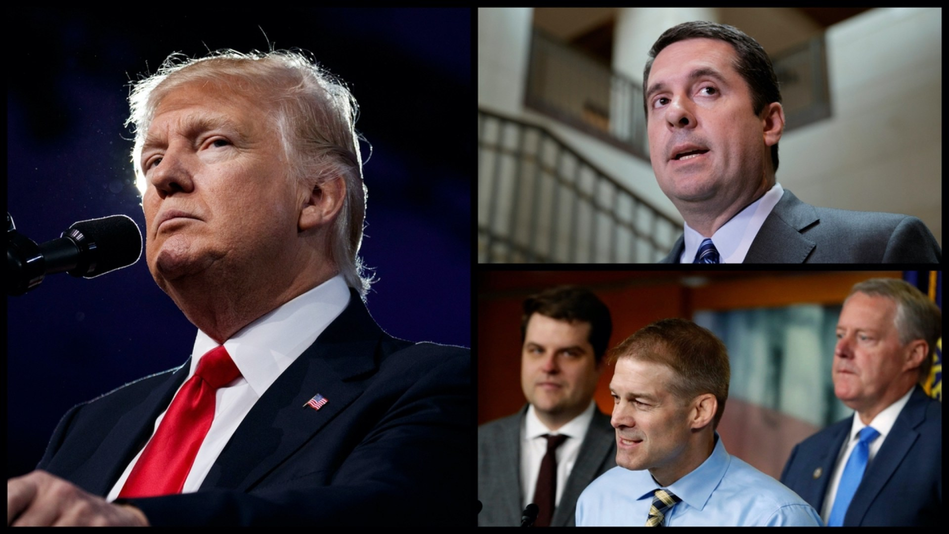 From Left: President Donald Trump, Ranking House Intelligence Committee Member Rep. Devin Nunes (R-CA), House Freedom Caucus Members Rep. Matt Gaetz (R-FL), Rep. Jim Jordan (R-OH), and Chairman Rep. Mark Meadows (R-NC) - (AP Photo)