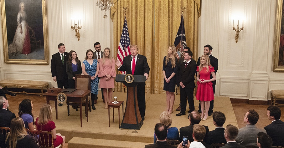 President Trump delivers remarks prior to signing an executive order promoting free speech on college campuses in the East Room of the White House. – Thursday, March 21, 2019 (Official White House Photo by Joyce N. Boghosian)