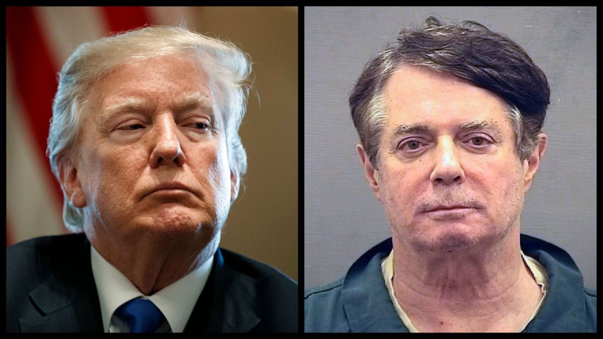 President Trump and the mugshot of former Trump Campaign Chairman Paul Manafort (AP)