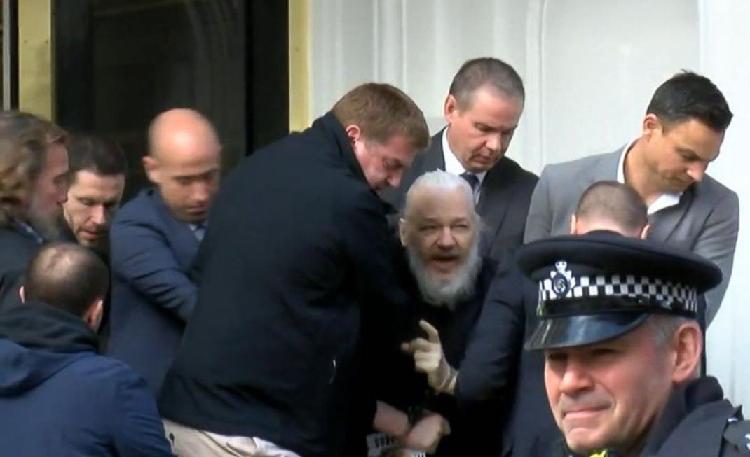 WikiLeaks founder Julian Assange was arrested and carried out of the Ecuadorian Embassy in London on April 11, 2019 (Screenshot From Ruptly Video)