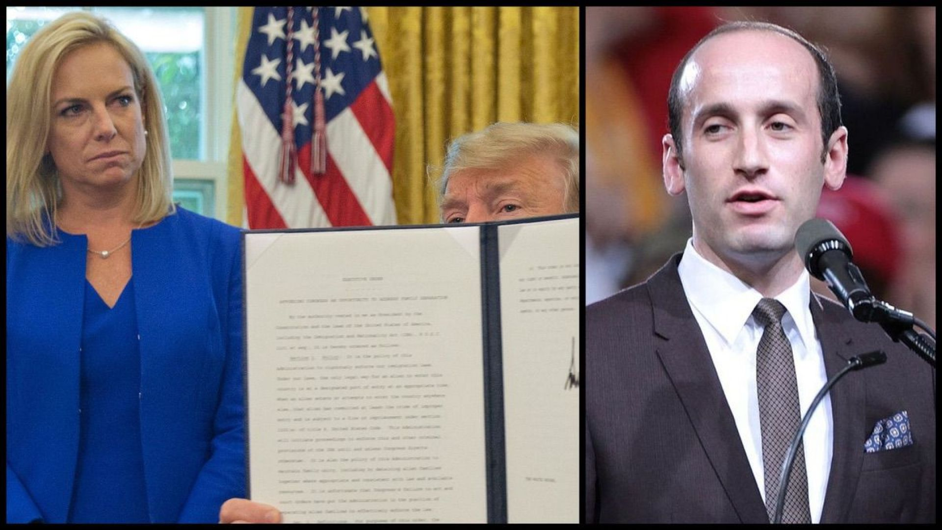 Then-Homeland Security Secretary Kirstjen Nielsen standing with President Donald Trump as he holds up an executive order he signed to end family separations in the Oval Office - June 20, 2018. (AP Photo/Pablo Martinez Monsivais) Senior White House Adviser Stephen Miller (Gage Skidmore)