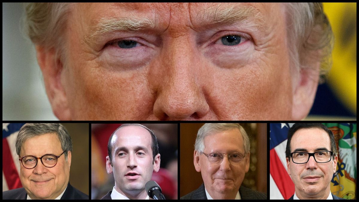 President Donald Trump, Attorney General William Barr, White House Senior Adviser Stephen Miller, Senate Majority Leader Mitch McConnell (R-KY), Treasury Secretary Steve Mnuchin (AP and Official Photos)