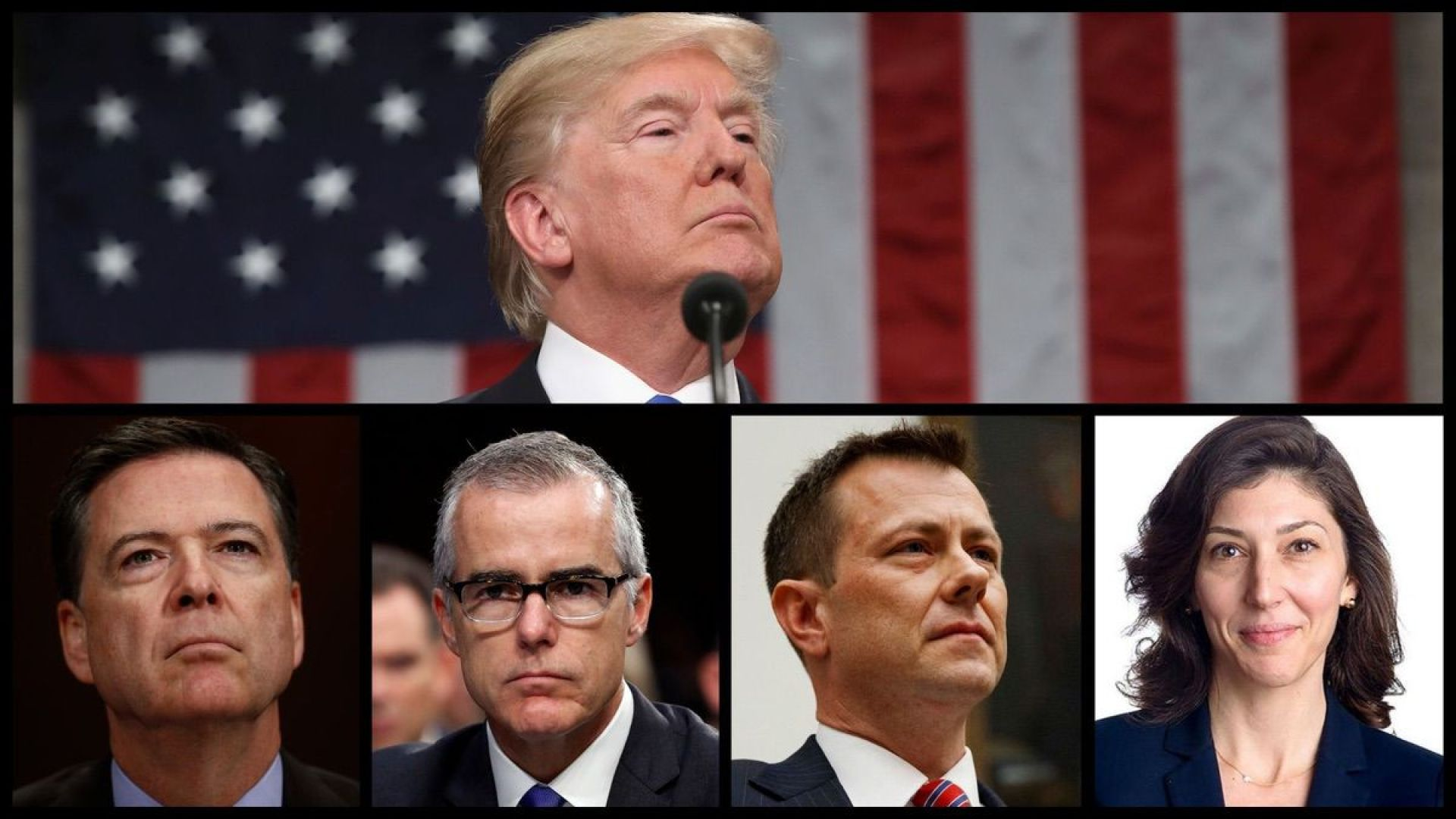 President Trump, former FBI Director James Comey, former acting FBI Director Andrew McCabe, former FBI Agent Peter Strozk, and former FBI lawyer Lisa Page (AP/Official Photos)