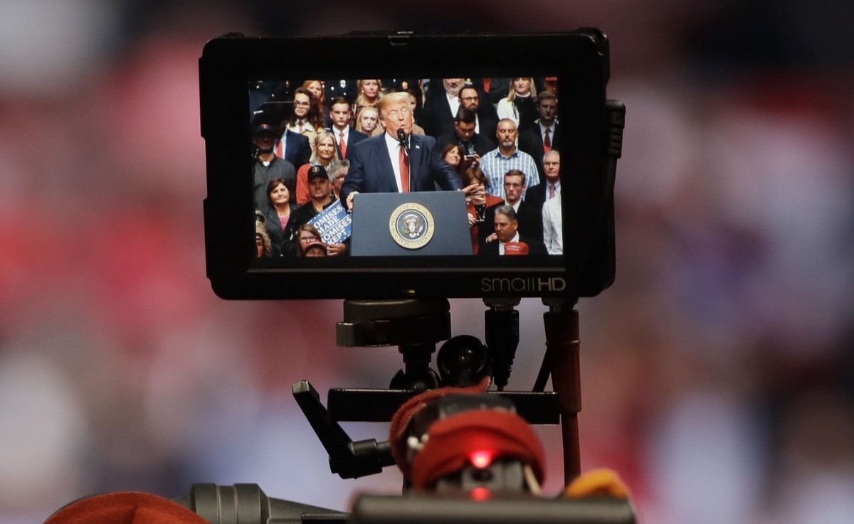 A camera is focused on President Donald Trump as he speaks at a rally Wednesday, March 15, 2017, in Nashville, Tenn. (AP Photo/Mark Humphrey)