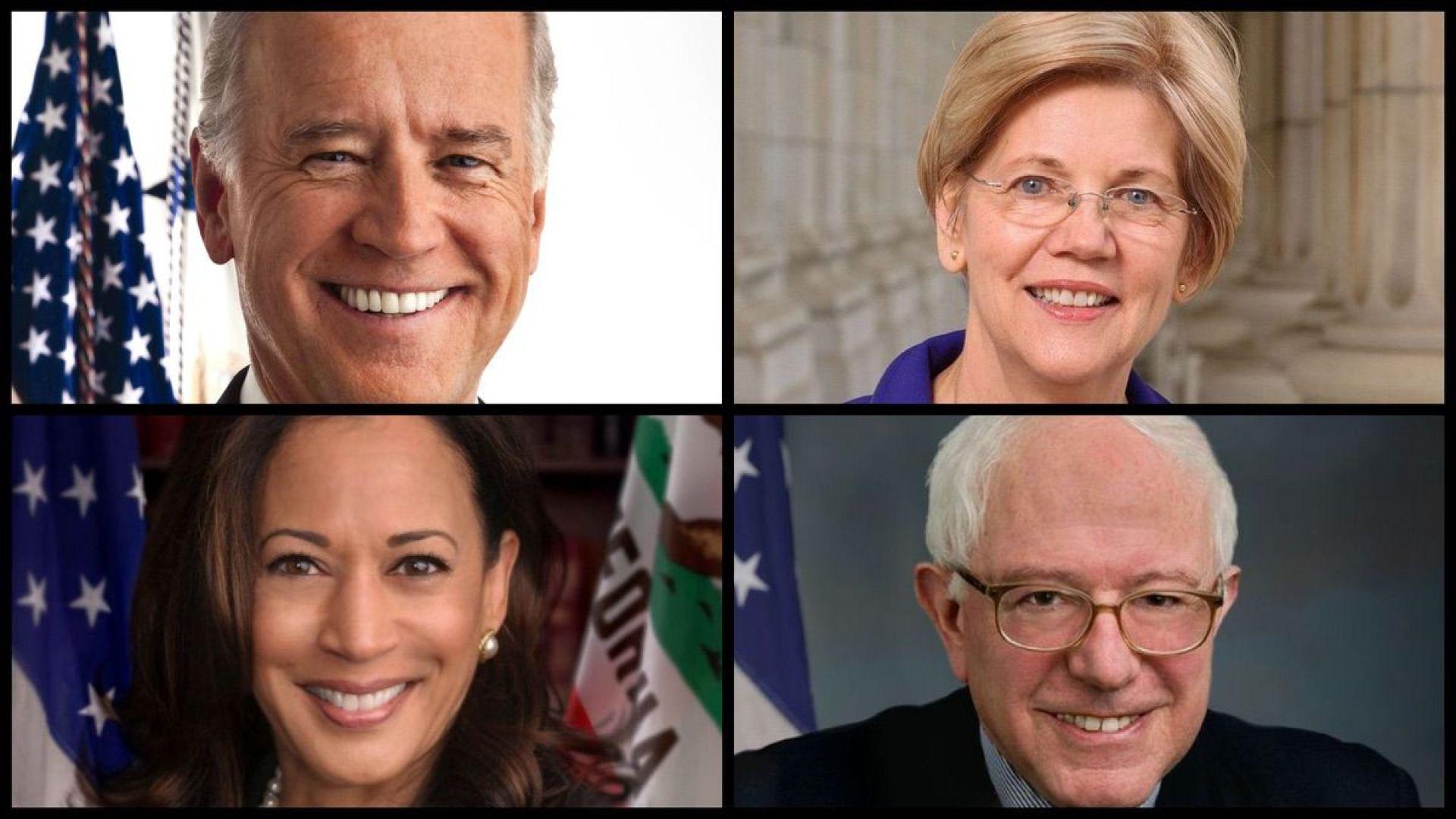 From top left: Joe Biden, Elizabeth Warren, Kamala Harris, Bernie Sanders