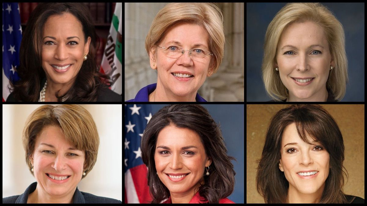 From top left to bottom right: Kamala Harris, Elizabeth Warren, Kirsten Gillibrand, Amy Klobuchar, Tulsi Gabbard, Marianne Williamson (Official Photos)
