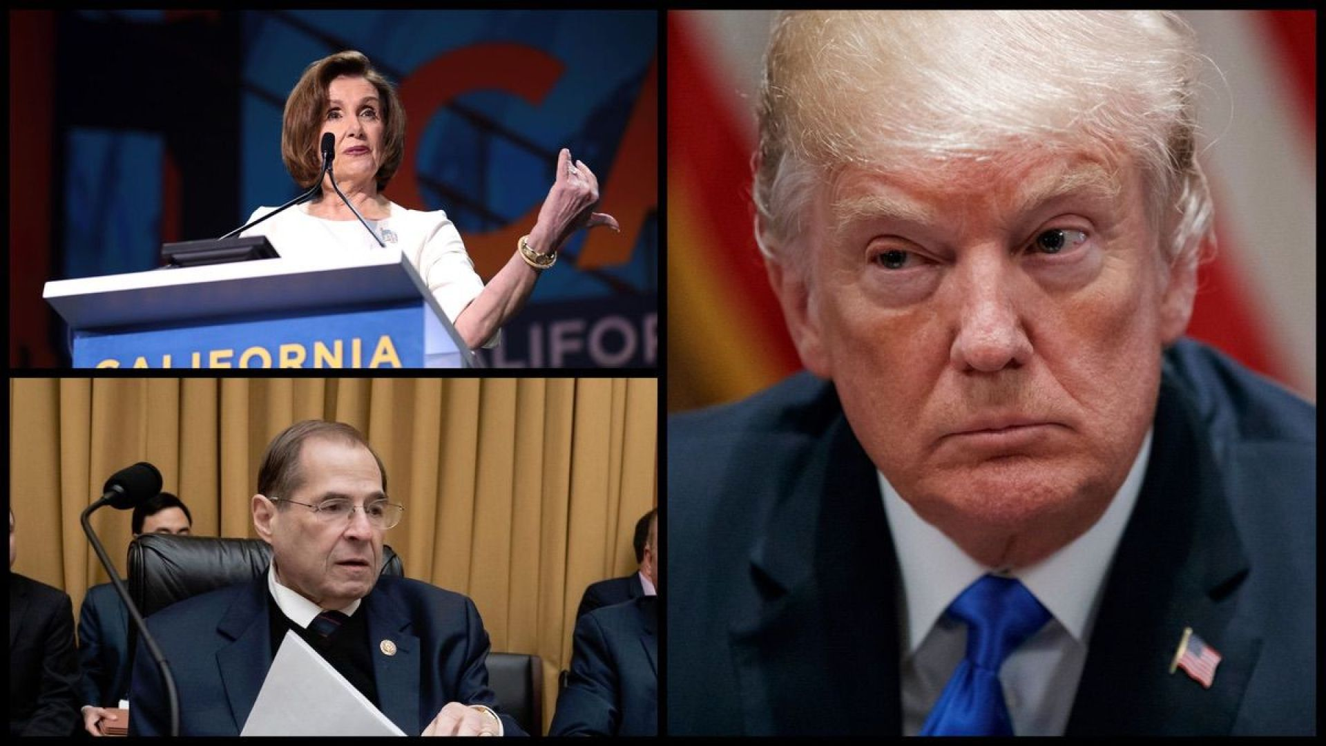 Speaker of the House Nancy Pelosi (D-CA), House Judiciary Chairman Jerry Nadler (D-NY), and President Donald Trump (AP and Wikimedia Commons)