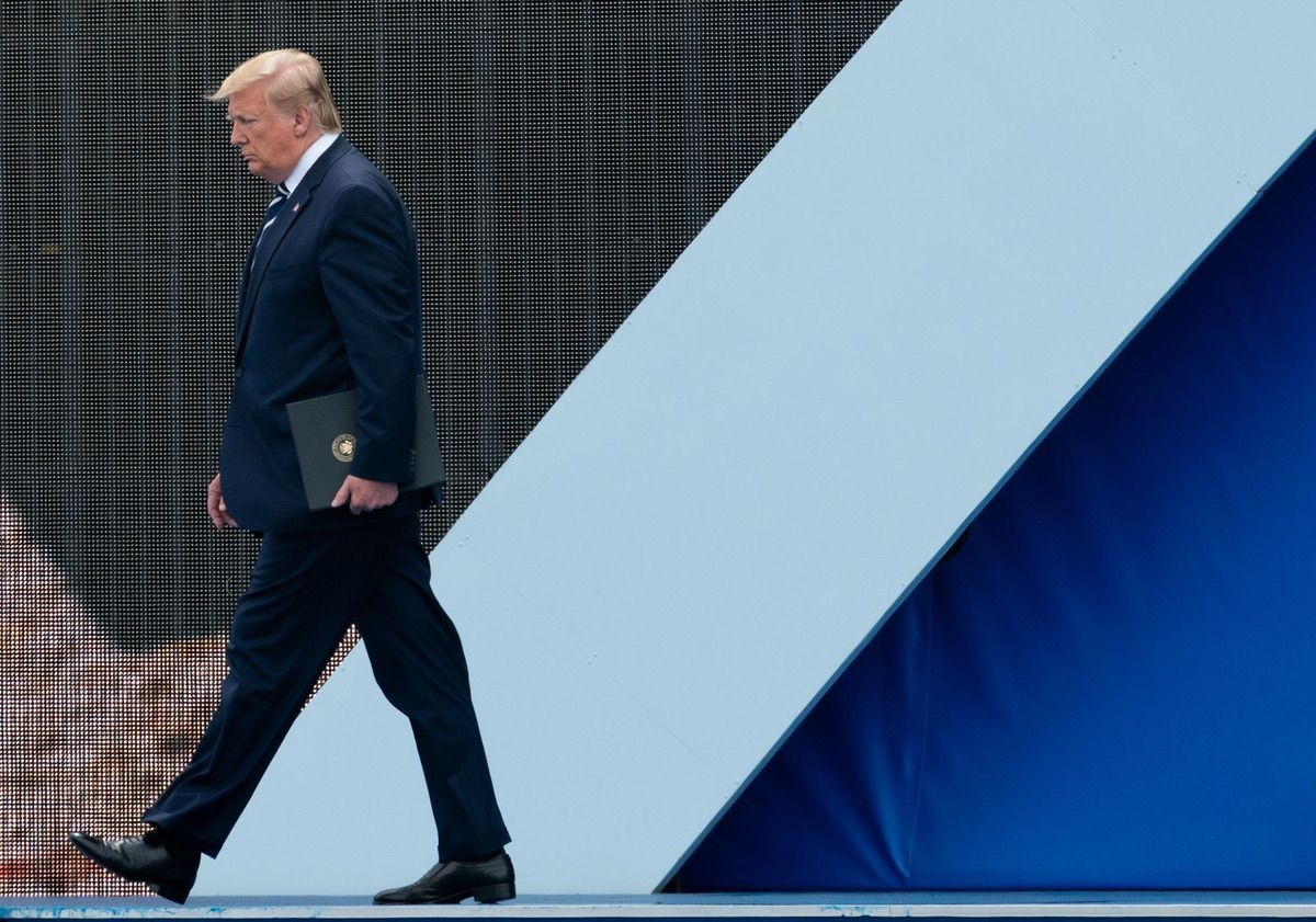 President Donald J. Trump walks off the stage after delivering remarks during a D-Day National Commemorative Event Wednesday, June 5, 2019, at the Southsea Common in Portsmouth, England. (Official White House Photo by Andrea Hanks)