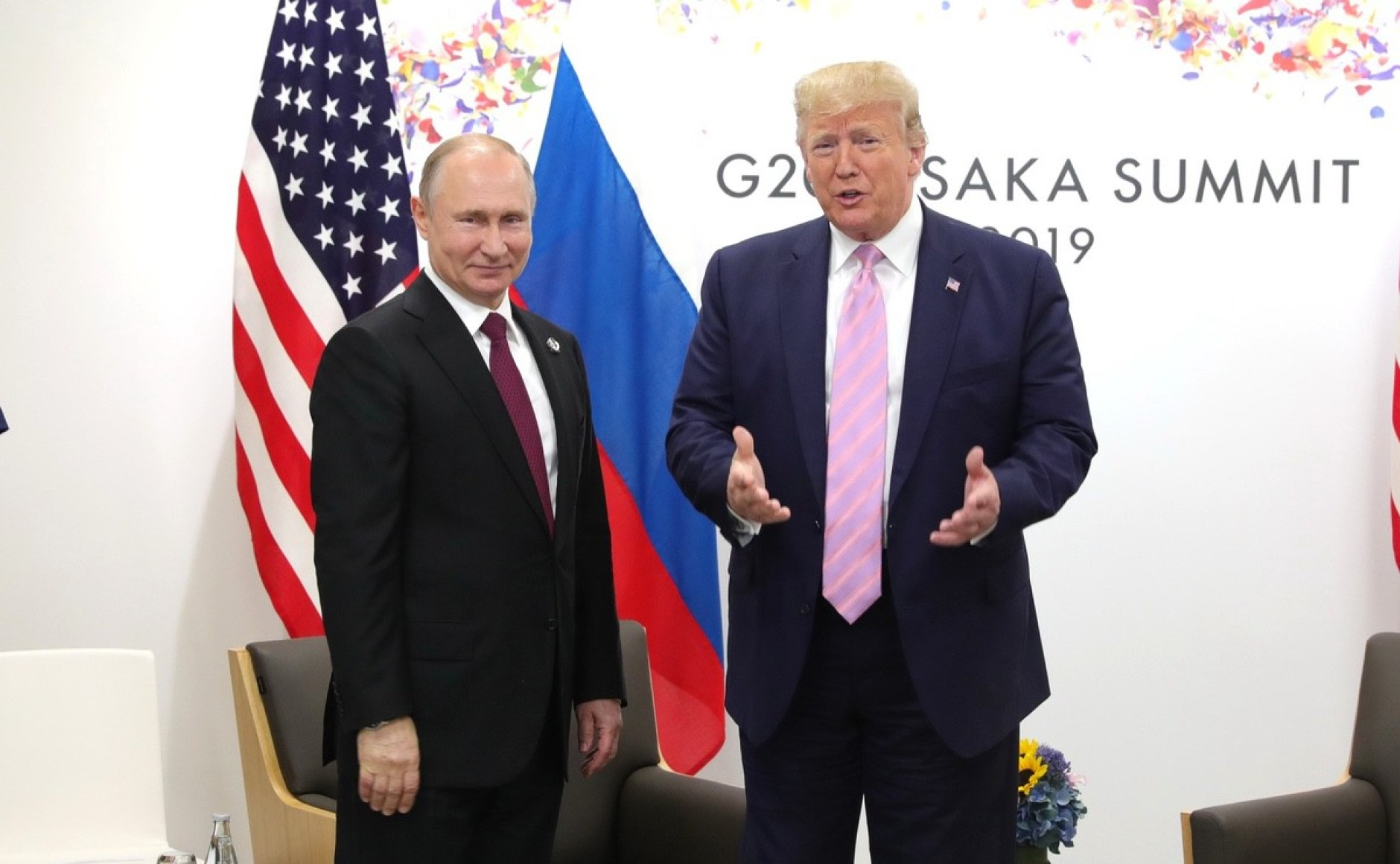 Russian President Vladimir Putin and US President Donald Trump meeting at the G20 summit - 28 June 2019 (Source: The Kremlin)
