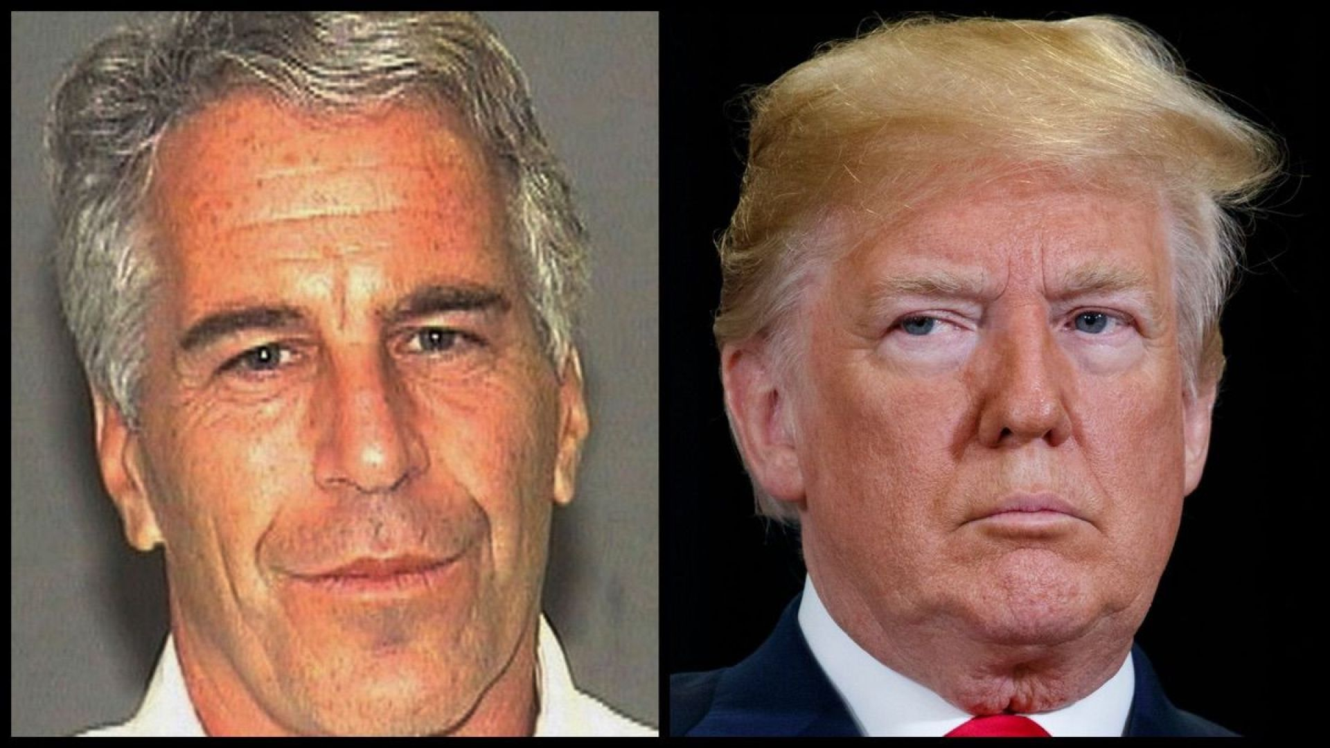 Jeffrey Epstein (mug shot) and Donald Trump (AP)