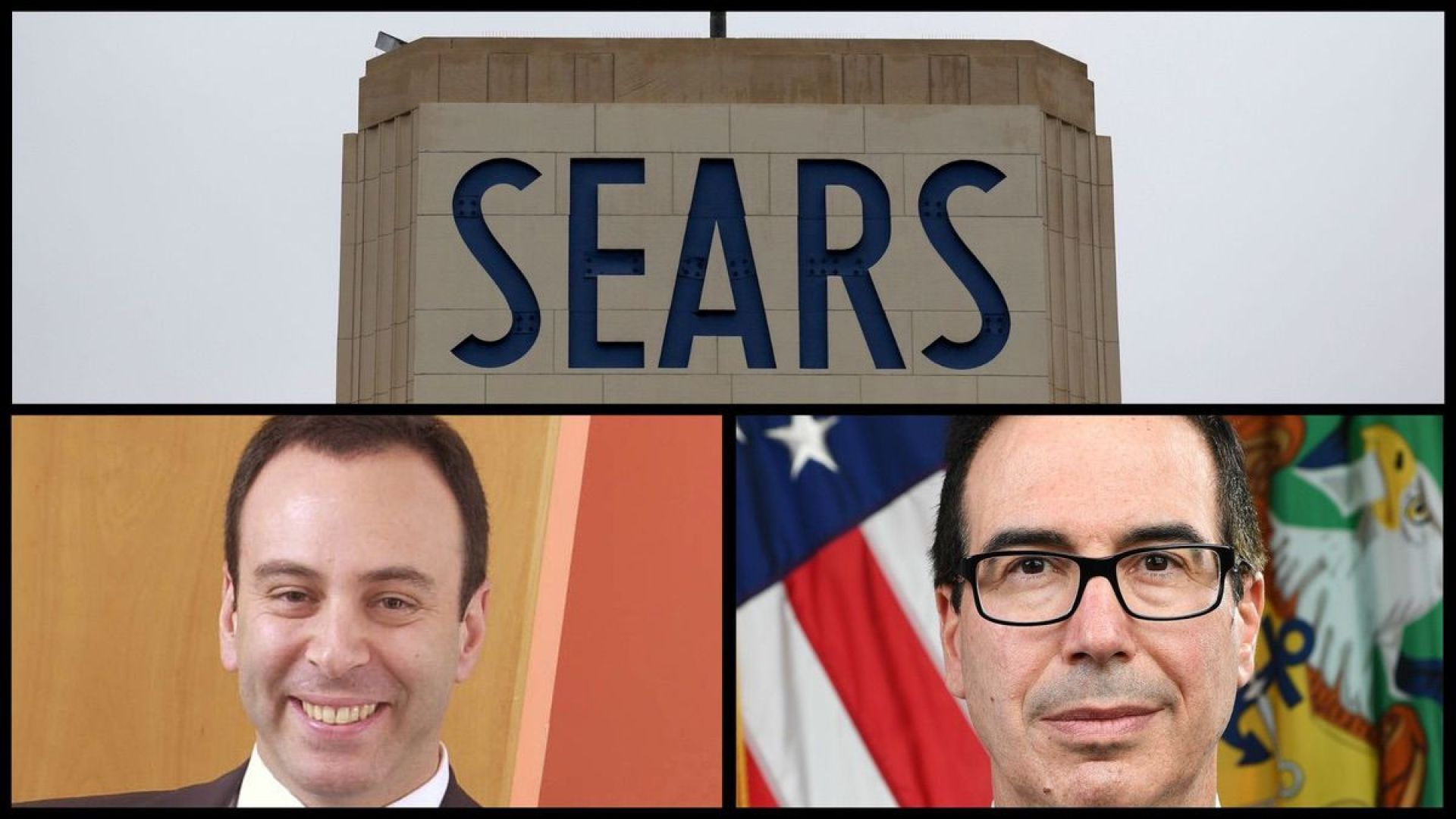 Sears building (AP), Former Sears Chairman and CEO Eddie Lampert (AP), and Treasury Secretary Steve Mnuchin (Official Photo)