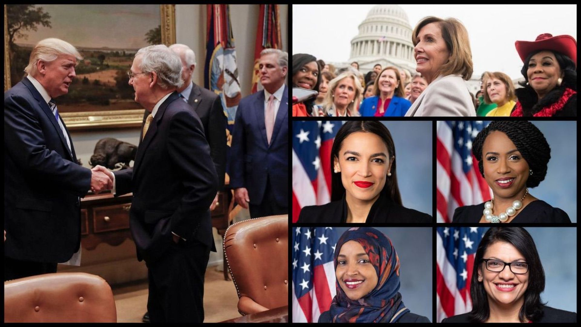 Left: President Trump, Senate Majority Leader Mitch McConnell, House Minority Leader Kevin McCarthy (AP). Left: Speaker of the House Nancy Pelosi, House Democrats, and Representatives Alexandria Ocasio-Cortez (D-NY), Rashida Tlaib (D-MI), Ayanna Pressley (D-IL), and Ilhan Omar (D-MN).