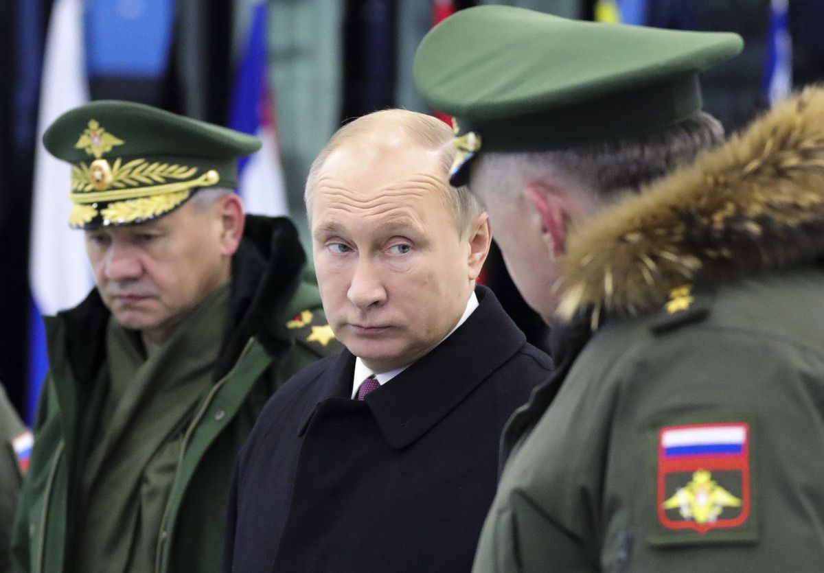 Russian President Vladimir Putin visits the Military Academy of Strategic Rocket Troops after Peter the Great in Balashikha, outside Moscow, Russia, Friday, Dec. 22, 2017.. (Mikhail Klimentyev, Sputnik, Kremlin Pool Photo via AP)